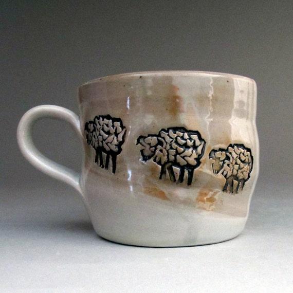 Sheep Ceramic Coffee Mug Teacup in White