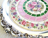Bouquet Baroque Mosaic Silverplate Tray broken china floral pink green stained glass