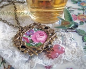 Tudor Rose Broken China Filigree Jewelry Necklace fuchsia pink lavender floral