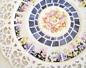 Primrose Broken China Mosaic Lace Edge Tray lavender pink white
