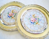 Mosaic Tray Pair silverplate floral broken china opalescent white cream pink