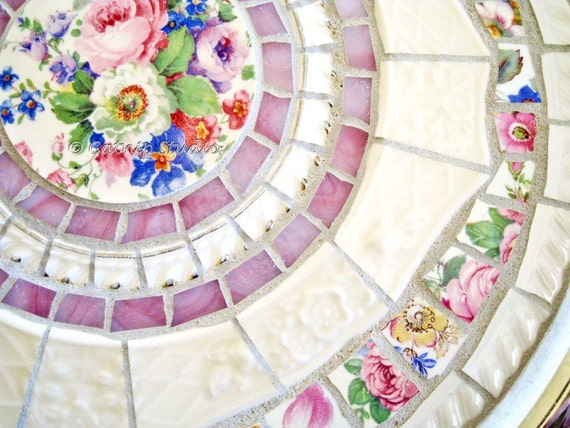 Broken China Mosaic Silverplate Tray pink cream white floral stained glass