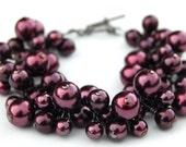 Eggplant Pearl Cluster Bracelet, Fall Wedding Accessory, Pearl Bracelet, Autumn Accessory, Matron of Honor