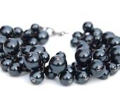 Black Pearl Cluster Bracelet, Bridesmaid Bracelet, Evening Wear, Everyday Wear, Winter Wedding Jewelry