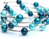 Teal, Blue, Aqua and Silver Pearl Memory Wire Bracelet, Beaded Bangle, Pearl Bracelet, Spring Accessory