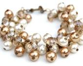 Wedding Bracelet, Bridal Old Gold and Ivory Pearl Cluster Bracelet, Bridesmaid Gifts