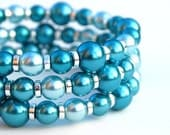 Turquoise and Aqua Pearl Memory Wire Bracelet