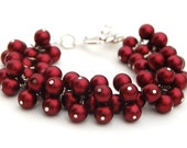 Garnet Red Pearl Cluster Bracelet, Valentines Gift, Bridesmaid Bracelet, Under 50, January Birthstone