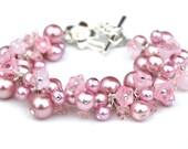 Pink Pearl Bracelet, Cherry Blossom Floral and Pearl Cluster Bracelet, Bridesmaid Bracelet, Valentines Gift