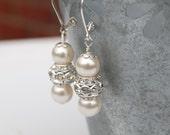 Ivory Pearl Wedding Earrings, Bling Earrings, Bridal Pearl Rhinestone Jewelry