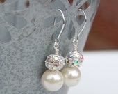 Pearl Wedding Jewelry, Sparkling Ivory Bridal Earrings, Evening Accessory, Under 20, Bridesmaid Earrings, Wedding Party