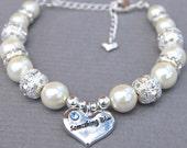 Something Blue Charm Bridal Bracelet, Ivory Pearl Rhinestone Jewelry, Wedding Jewelry