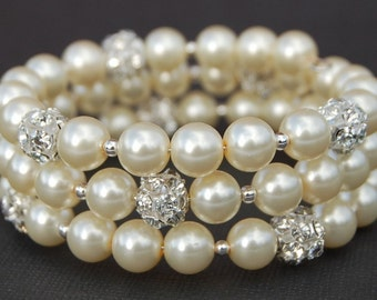 Bridal Bracelet, Ivory Pearl Wedding Jewelry, Pearl Rhinestone Memory Wire Bracelet, Bridesmaid Jewelry