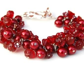Red Pearl Cluster Bracelet, Under 50, Floral Jewelry, Gift for Gardener, Present for Mom, Red Bracelet