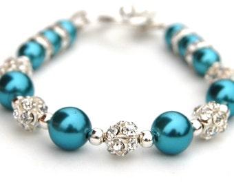 Turquoise Wedding, Bridesmaid Jewelry, Turquoise Pearl Bracelet, Bridesmaid Gifts, Summer Wedding, Beach Wedding, Turquoise Bridesmaids