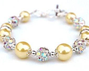 Yellow Pearl Bracelet, Bridesmaid Jewelry, Pastel Wedding, Yellow Bridesmaid, Spring Wedding, Lemon Wedding Jewelry