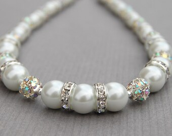 Wedding Day Jewelry, Pearl Necklace, Bridesmaid Necklace, Pearl Jewelry, Bling Wedding, Bridal Pearl Rhinestone Necklace, Romantic Wedding