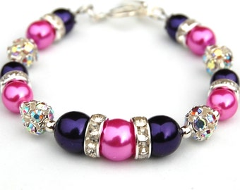 Bridesmaid Jewelry, Hot Pink and Royal Purple Bling Bracelet, Bridesmaid Bracelet, Bridal Party, Jewel Tones