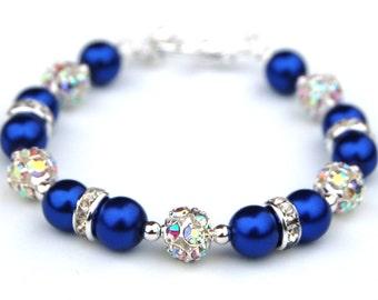 Royal Blue Bracelet, Royal Blue Wedding Jewelry, Bridesmaid Gifts, Pearl Rhinestone Jewelry, Something Blue, Summer Wedding, Blue Wedding