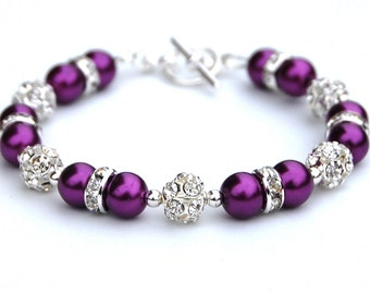 Pansy Purple Pearl Rhinestone Bracelet, Bridesmaid Gifts, Bridal Party, Gift for Her, Under 30, Purple Beaded Bracelet, Sparkling Jewelry