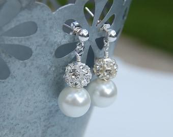 Pearl Rhinestone Bridal Earrings, Bridal Jewelry, Modern Wedding Jewelry, White Pearl Earrings, Bridal Earrings, Bling Wedding