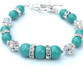 Bridesmaid Jewelry, Jade Green Pearl Rhinestone Bracelet, Bridesmaid Gifts, Bridal Party, Summer Jewellery, Bling Bracelet, Green Wedding