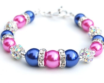 Hot Pink and Blue Bracelet, Bridesmaid Jewelry, Pink Blue Beaded Bracelet, Summer Wedding, Under 30, Pearl Rhinestone Bracelet