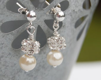 Ivory Pearl Rhinestone Wedding Earrings, Bridal Jewelry, Custom Colors, Petite Post Earrings, Flowergirl Earrings
