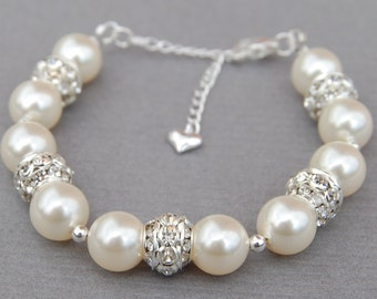 Ivory Pearl Wedding Bracelet, Brides Jewelry, Bridal Pearl Rhinestone Jewelry, Brides Bracelet, Wedding Day Jewelry