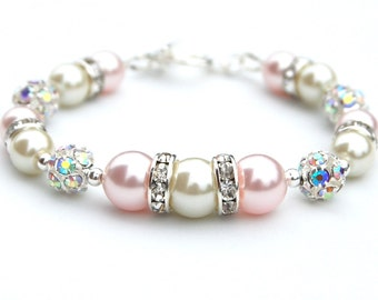 Pale Pink and Ivory Beaded Bracelet, Brides Bracelet, Pearl Rhinestone Bracelet, Bridesmaid Gifts, Pastel Jewelry, Spring Wedding, Under 30