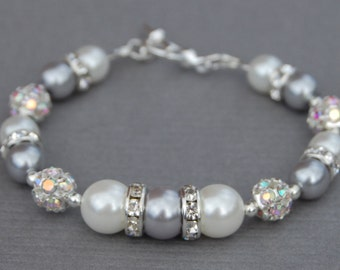 Brides Jewelry, Silver and White Pearl Rhinestone Bracelet, Modern Bride, White Pearl Jewelry