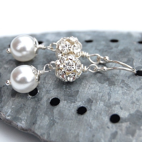 Bridal Sparkling Pearl Earrings, Wedding White Pearl and Rhinestone Fireball Bridal Earrings, Custom Colors, Bridesmaid Earrings