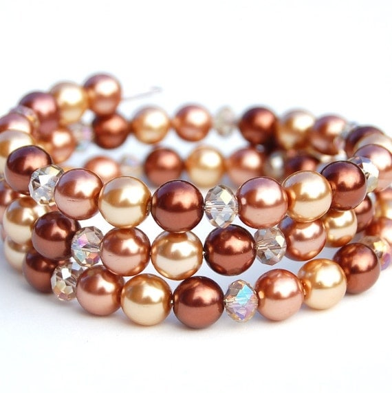 Cinnamon, Gold and Brown Pearl Memory Wire Bracelet, Pearl Cuff, Bridesmaid Bracelet