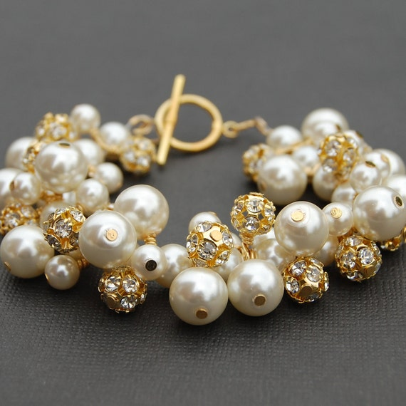 Ivory Wedding Jewelry, Bridal Bracelet, Ivory Pearl and Gold Diamante Fireball Cluster Bracelet, Pearl Bracelet, Sparkling Wedding Jewelry