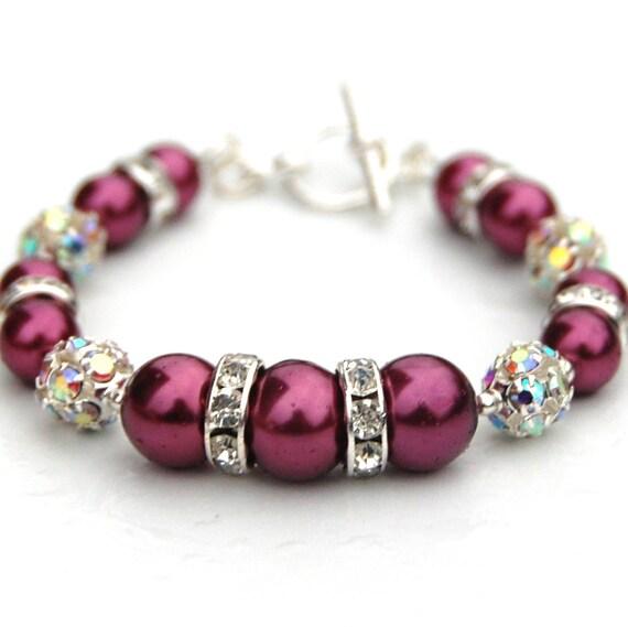 Bridesmaid Jewelry, Raspberry Pearl and Rhinestones Bracelet, Bridesmaid Gift, Sparkling Pink Bracelet, Custom Colors
