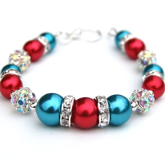 Turquoise and Red Pearl Bling Bracelet, Bridesmaid Bracelet, Bridal Party, Bridesmaid Jewelry, Gift for Her, Gift Under 30, Summer Wedding