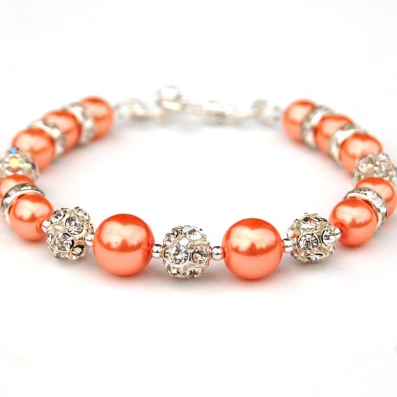 Orange Pearl Bracelet, Orange Bridesmaid Jewelry, Bling Bracelet, Orange Pearl Rhinestone Jewelry, Bridal Party, Orange Wedding Jewelry