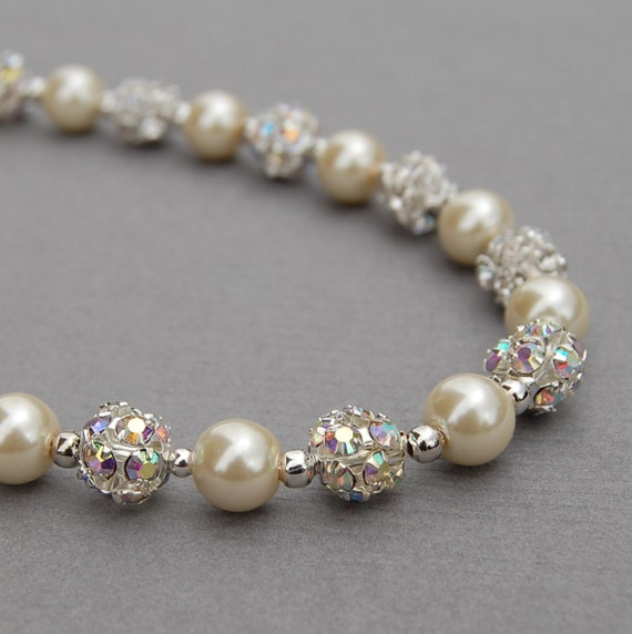 Bridal Pearl Necklace, Sparkling Ivory Pearl Necklace, Wedding Jewelry, Pearl and Rhinestone Jewelry, Bridesmaid Gifts