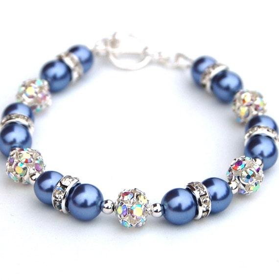 Periwinkle Blue Bling Bracelet, Blue Bridesmaid Bracelets, Periwinkle Wedding, Pearl Rhinestone Jewelry