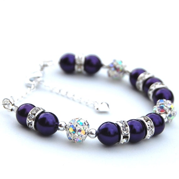 Flowergirl Jewelry, Pearl Rhinestone Bracelet, Sparkling Girls Bracelet, Pick your Own Color