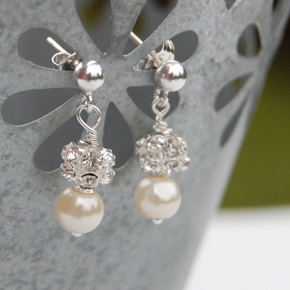 Ivory Pearl Rhinestone Wedding Earrings Bridal Jewelry