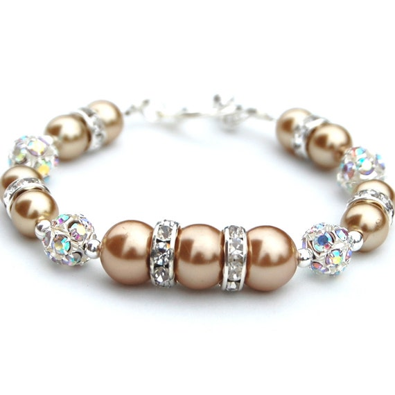 Champagne Pearl Bracelet, Under 30, Wedding Jewelry, Bridesmaid Gifts, Champagne Bride, Wedding Accessories, Pearl Rhinestone Bracelet