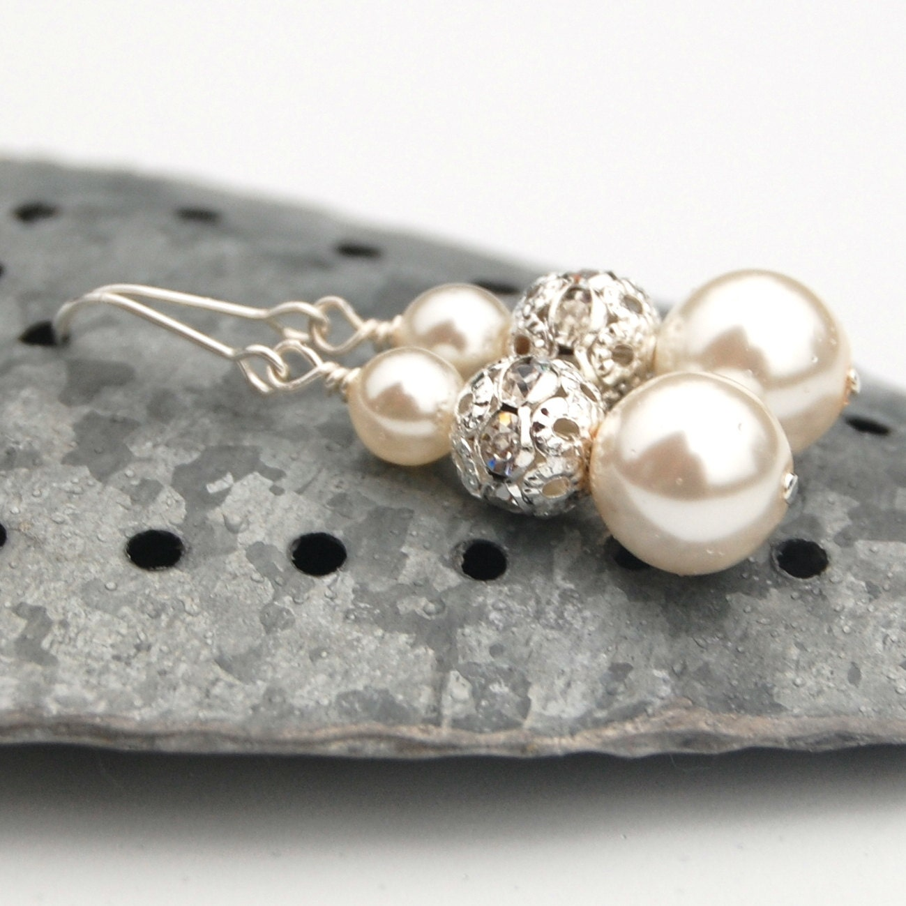 Bridal Jewelry Sparkling Ivory Pearl Earrings Modern Wedding
