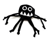 Stuffed Animal - Baby Marvin the Misunderstood Spider - ZadyCreature - Black and White