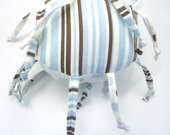 Unique handmade baby toy - Blue and Brown Dots and Stripes