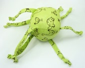 Soft Baby Toy - Ball with Strings - Cute Animal Doodles Green