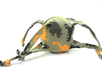 Soft Baby Toy - ball with strings - Dinosaurs - Orange Brown and Green