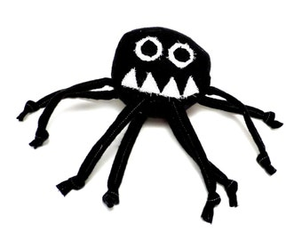 Stuffed Animal - Baby Marvin the Misunderstood Spider - ZadyCreature - Black and White