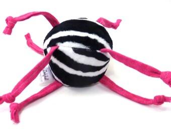 Soft Baby Ball Toy - Minky Zebra Print with Hot Pink Strings - ZadyMini