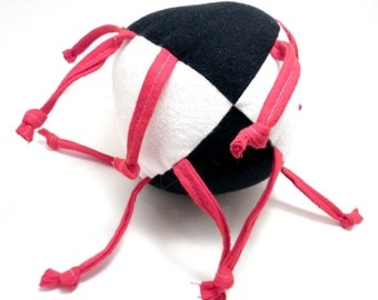 Unique handmade baby toy - Black, White and Red all over